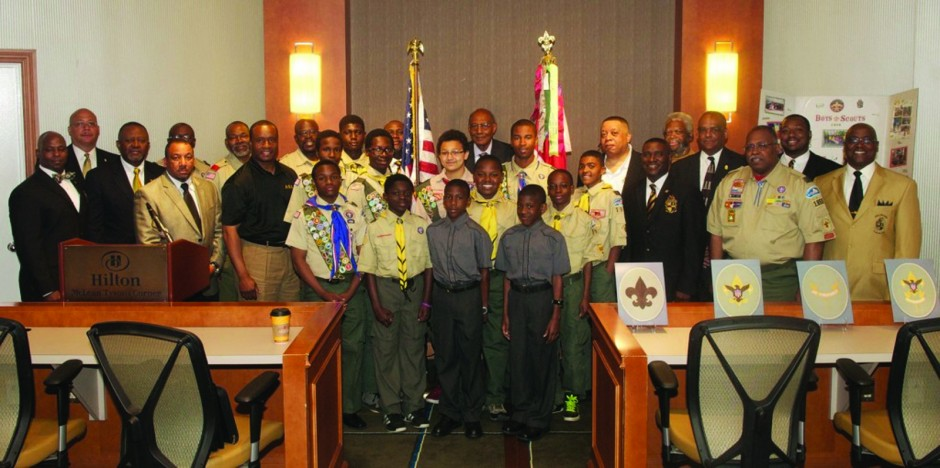 Xi Alpha Lambda Chapter Members with Boy Scouts Troop 1906